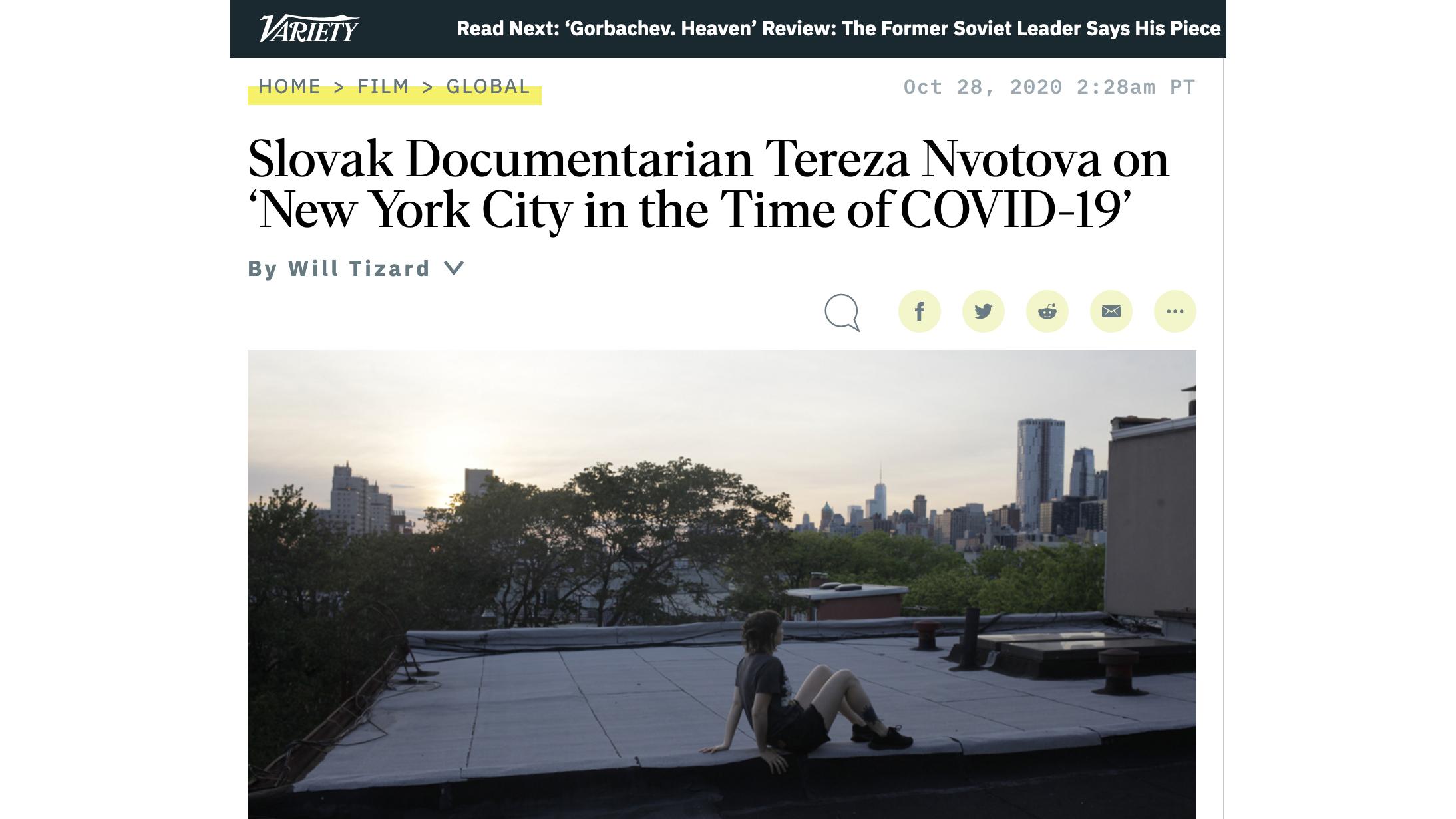 VARIETY: Slovak Documentarian Tereza Nvotova on 'New York City in the Time of COVID-19'