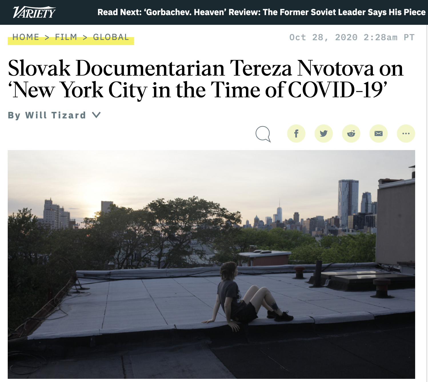 VARIETY: Slovak Documentarian Tereza Nvotova on 'New York City in the Time of COVID-19'